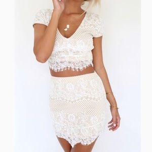 Two piece lace skirt set